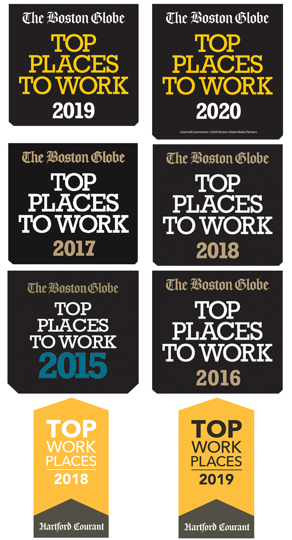 Boston Globe's Top Places to Work logo for six years and The Hartford Courant's Top Places to Work logo for three years
