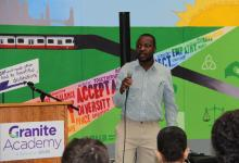 William Kamkwamba speaks to students at Granite Academy