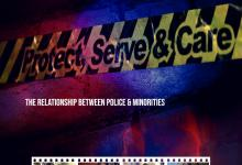 Protect, Serve & Care on yellow and black police tape