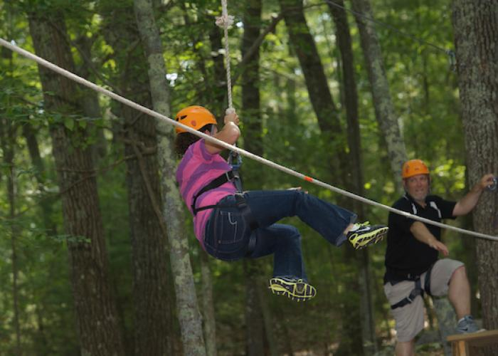 Staff member on DeMarco Ropes Course