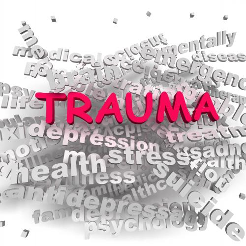 trauma with word cloud behind it