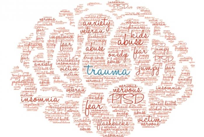 brain shape made up of words relating to trauma